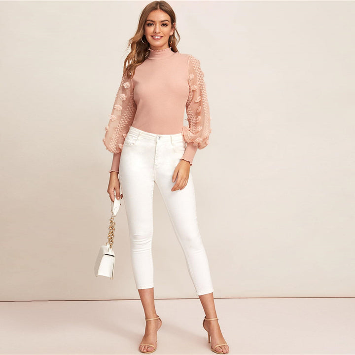 Women's Spring Polyester Long-Sleeved Blouse With Appliques
