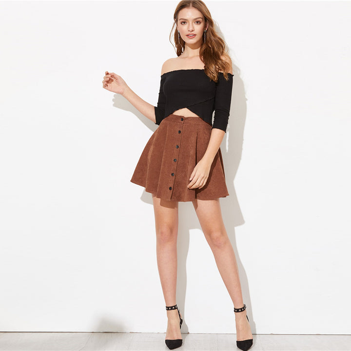 Women's Casual A-Line High-Waist Skirt With Buttons