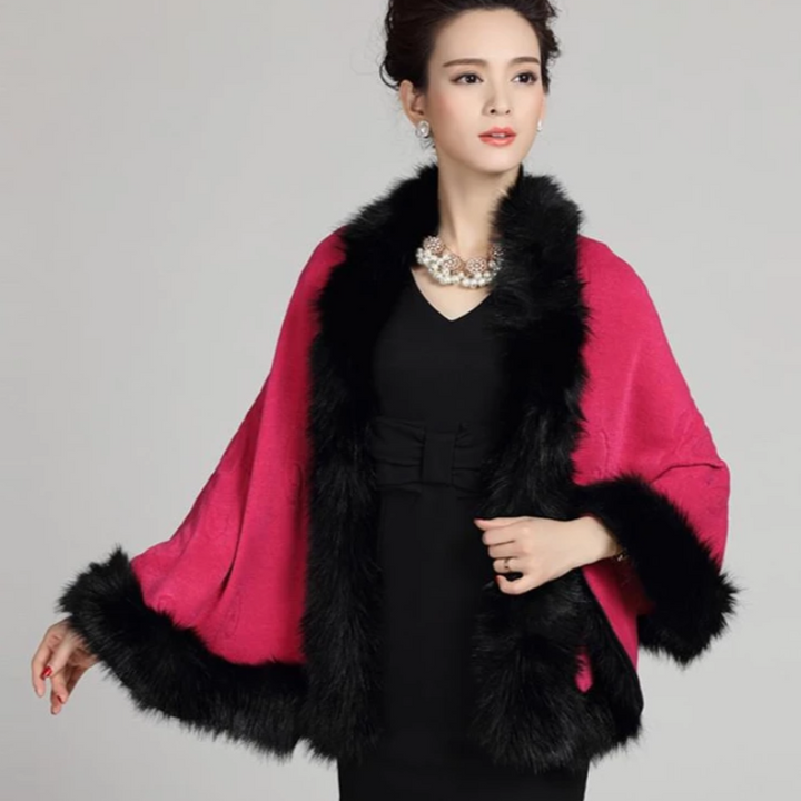 Women's Winter Casual O-Neck Poncho With Faux Fox Fur