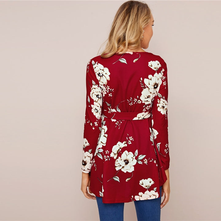 Women's Spring Casual O-Neck Asymmetrical Blouse With Floral Print