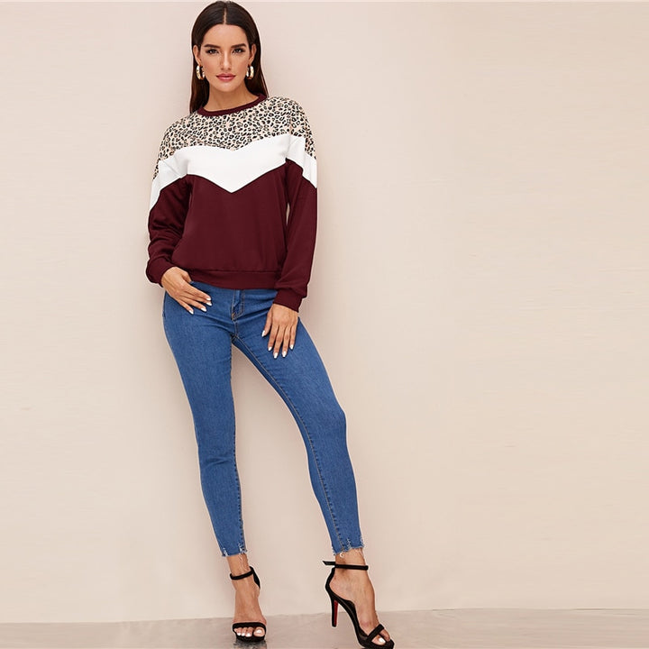 Women's Autumn Casual Polyester Long-Sleeved Sweatshirt With Print