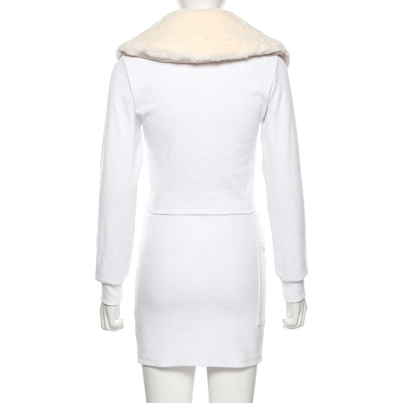 Women's Autumn/Winter Buttoned Two-Piece Dress With Fluffy Collar