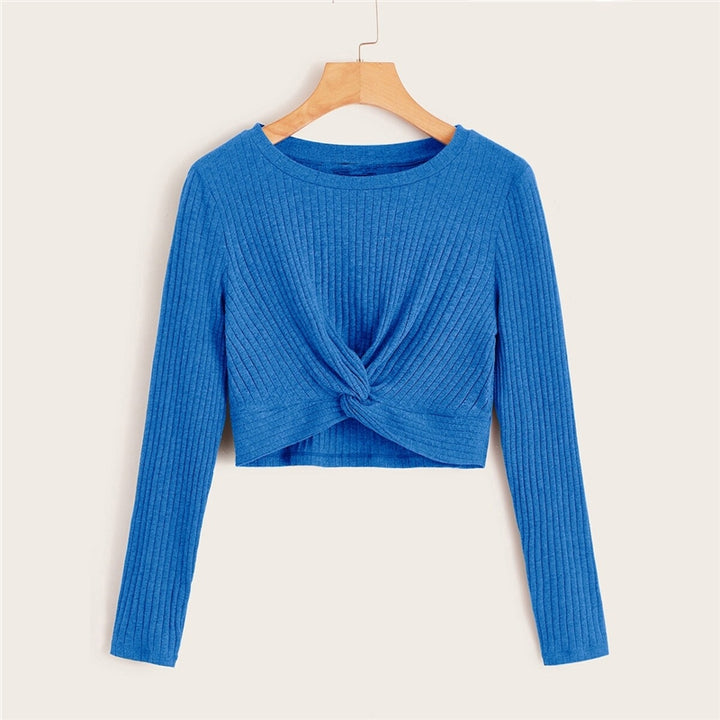 Women's Casual Long-Sleeved Knitted O-Neck Crop Top