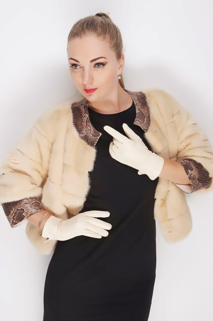 Women's Winter Genuine Leather Gloves With Lining