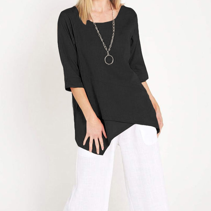 Women's Summer Casual Polyester Asymmetrical Long Blouse