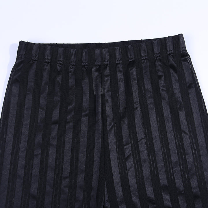 Women's Summer Mesh Slim Elastic Striped Shorts