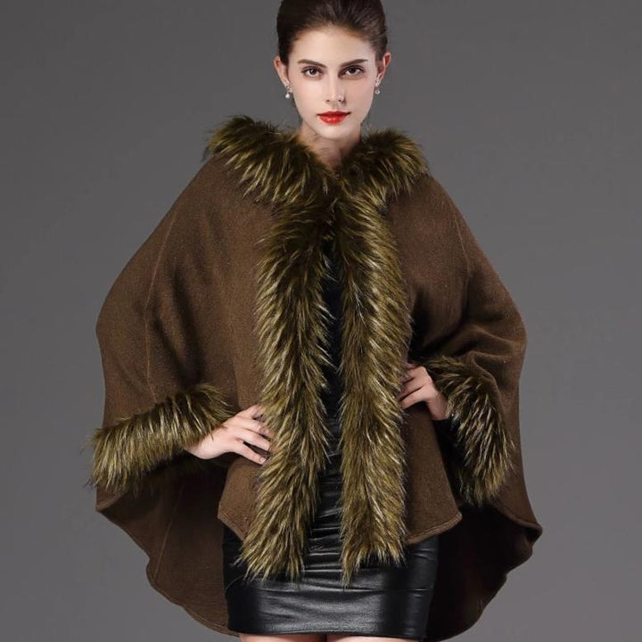 Women's Winter Casual V-Neck Poncho With Faux Fox Fur