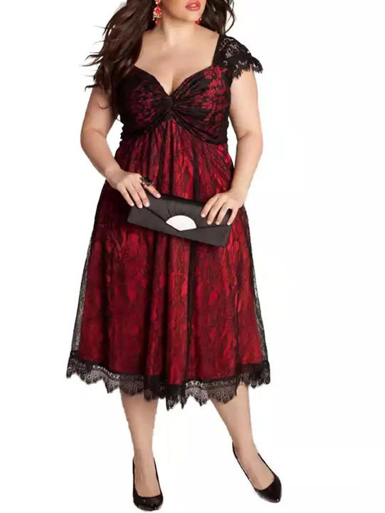 Women's Winter Lace V-Neck A-Line Dress | Plus Size