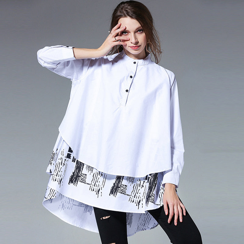 Women's Long-Sleeve Blouse With Print | Plus Size