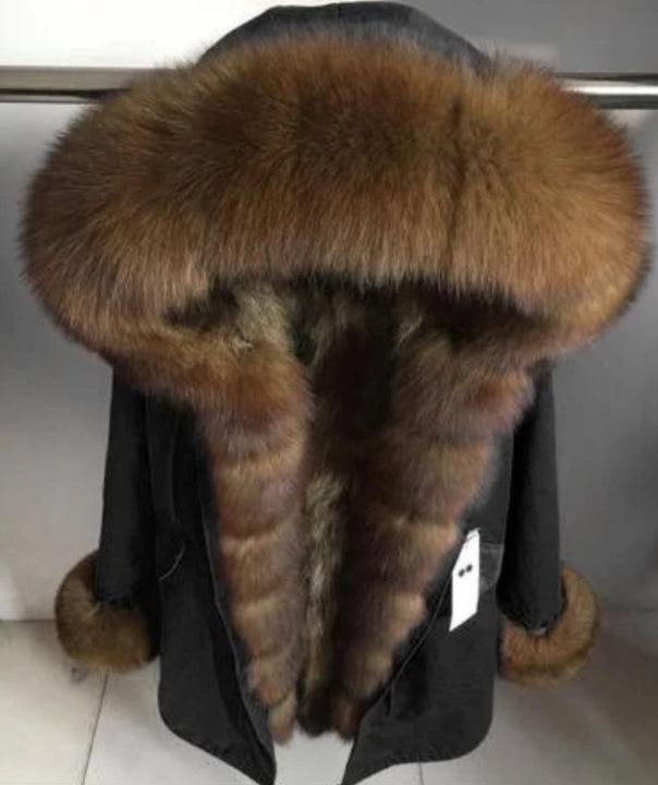 Women's Winter Casual Thick Long Parka With Raccoon Fur