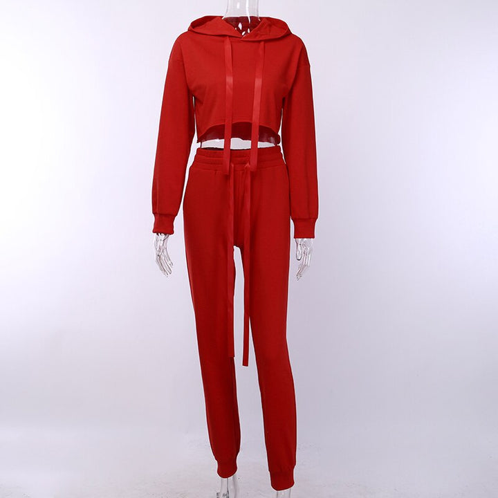 Women's Autumn Loose Solid Two-Piece Suit