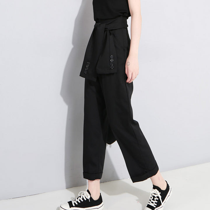 Women's Spring High-Waist Lace-Up Pants