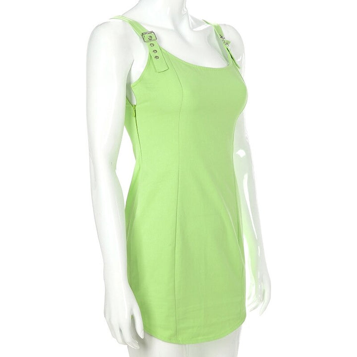 Women's Sleeveless Solid Slim Mini Dress