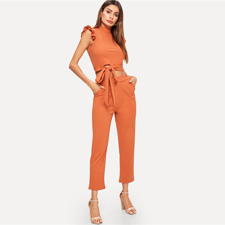 Women's Summer Ruffle Solid Two Piece Suit