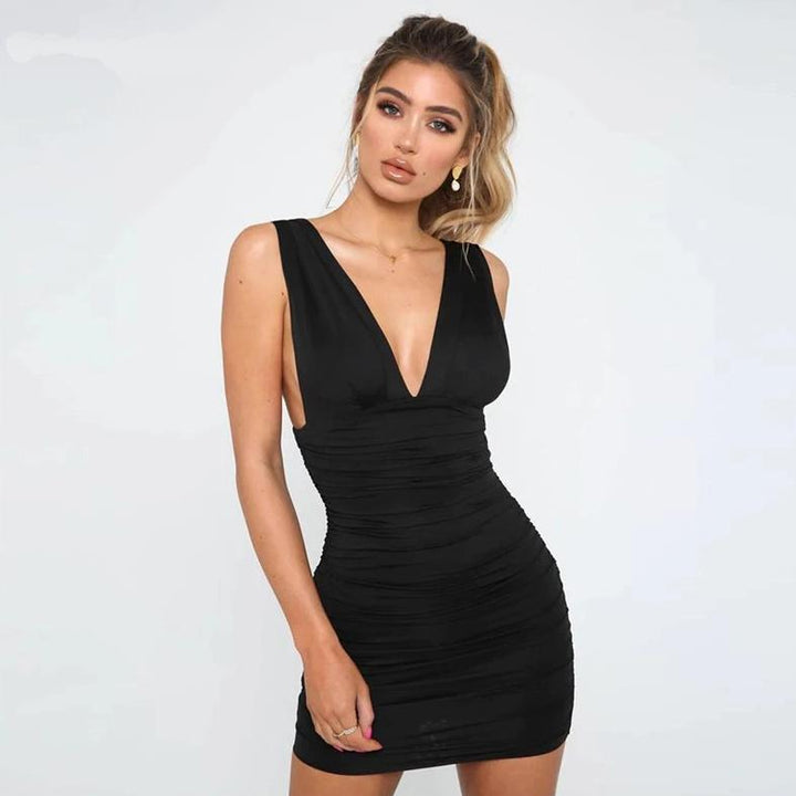 Women's Summer V-Neck Sheath Backless Mini Dress
