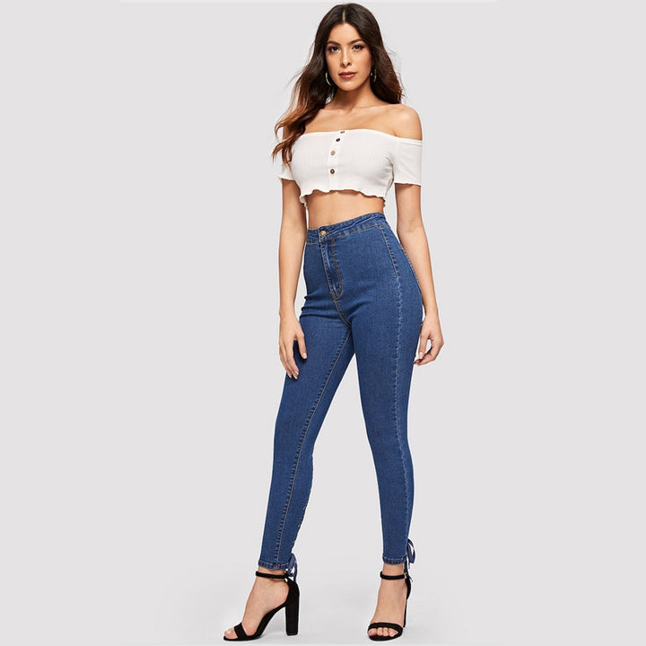 Women's Skinny Stretchy High-Waist Jeans With Crisscross Knot