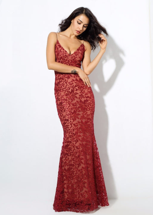 Women's Deep V-Neck Long Dress With Open Back