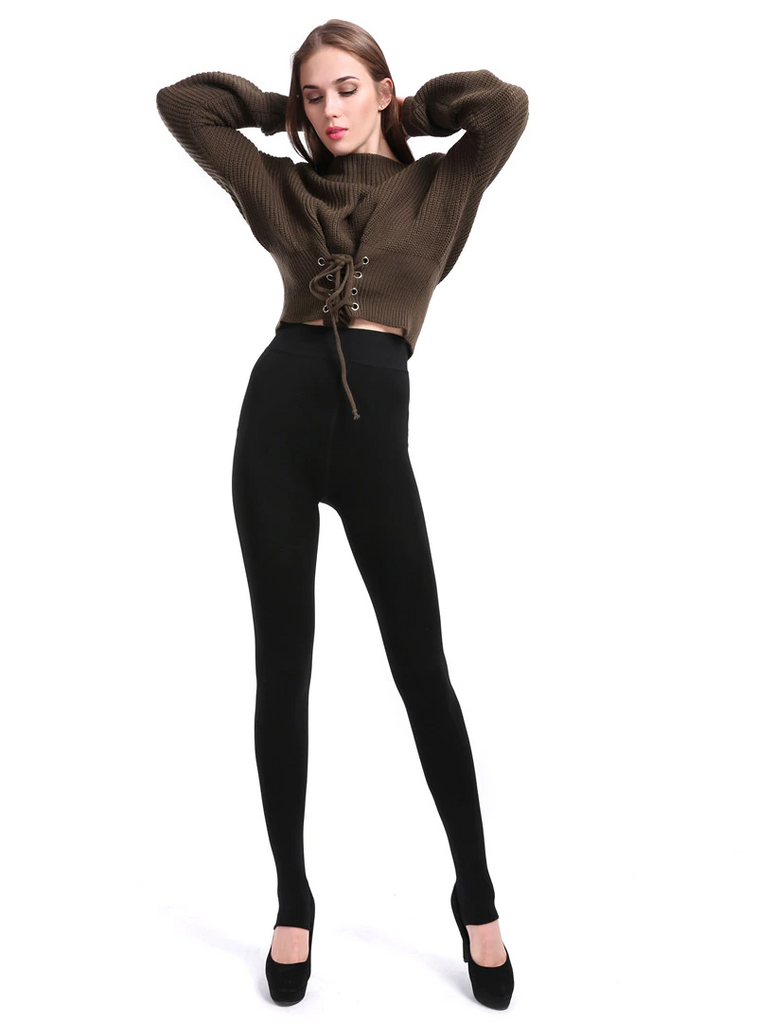 Women's Winter Casual Polyester High-Waist Warm Leggings