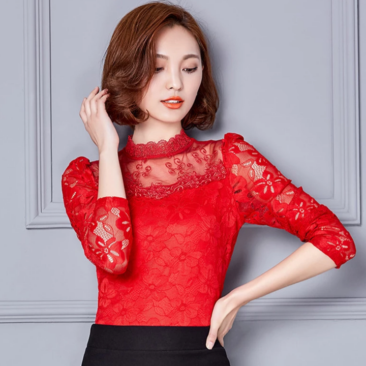 Women's Casual Lace O-Neck Long-Sleeved Blouse