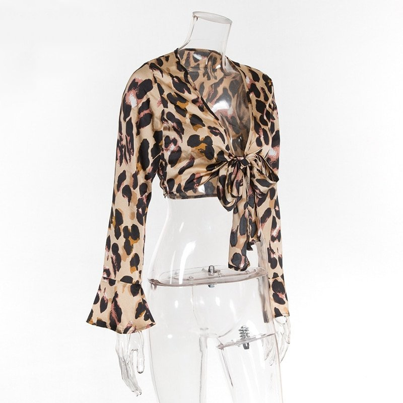 Women's V-Neck Cropped Leopard Blouse