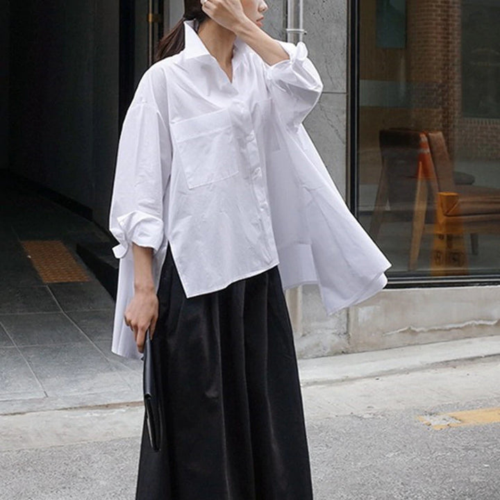 Women's Long-Sleeve Loose White Blouse