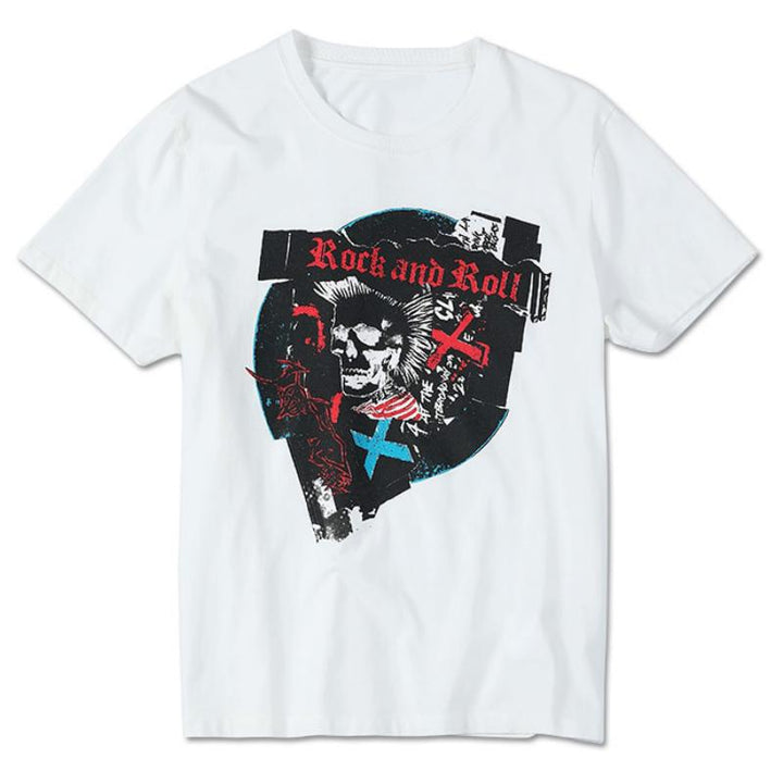 "Men's Summer Cotton Printed T-Shirt ""Rock And Roll"""