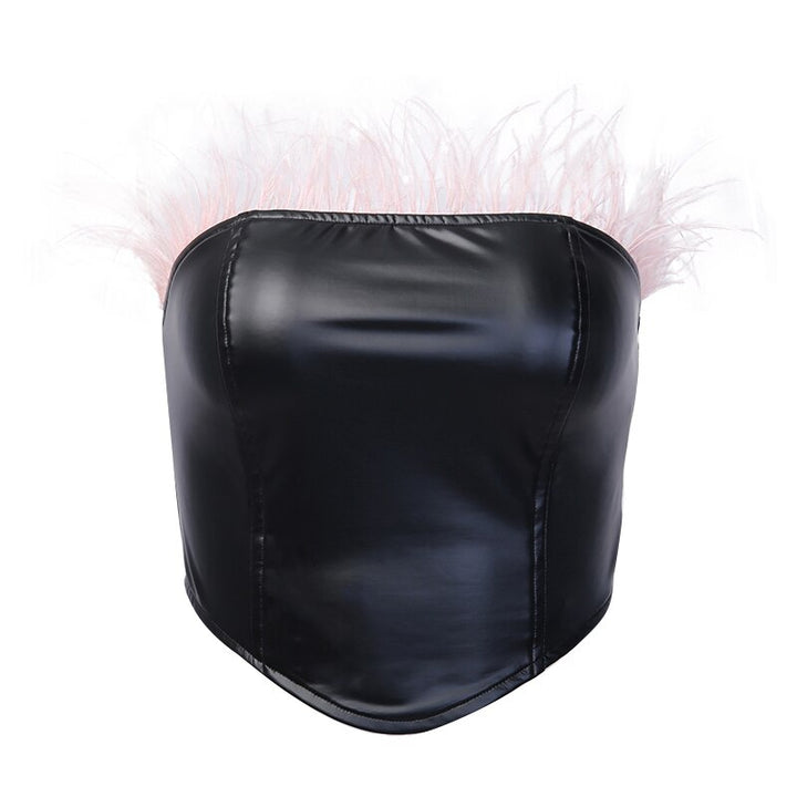 Women's Summer Slim PU Leather Tube Top With Feathers