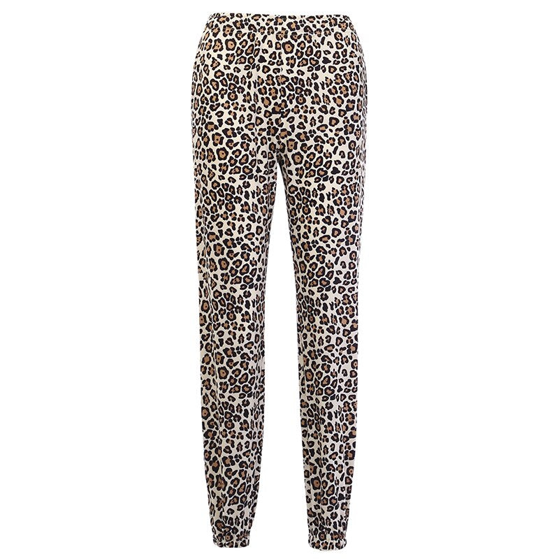 Women's Autumn Casual Leopard Slim Pants With Pockets