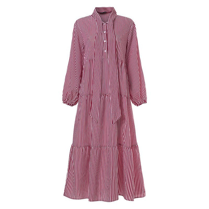 Women's Summer Casual Striped Loose Long Dress With Buttons