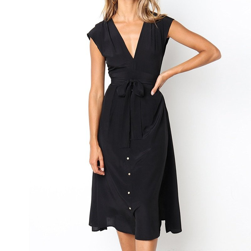 Women's Summer V-Neck Midi Dress