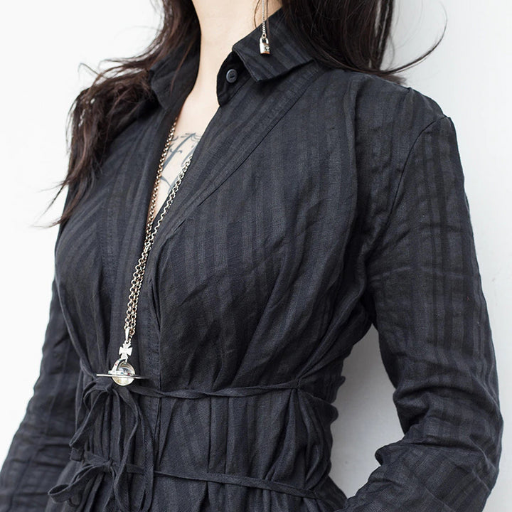 Women's Spring/Summer Cotton Long-Sleeve V-Neck Dress