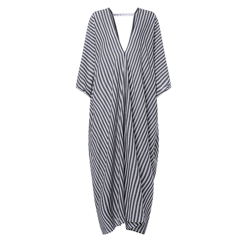 Women's Summer Casual V-Neck Striped Loose Long Dress