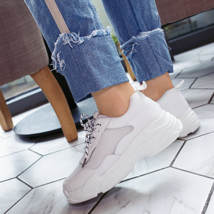 Women's Spring/Autumn Casual PU Leather Lace-Up Sneakers