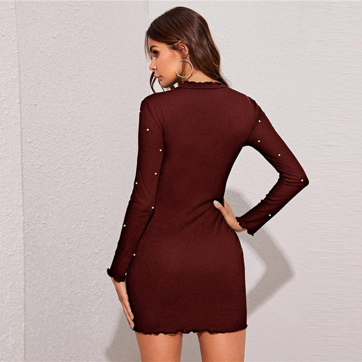 Women's Spring O-Neck Sheath Long-Sleeved Mini Dress