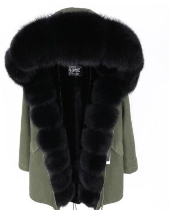Women's Winter Casual Long Slim Warm Parka With Fox Fur