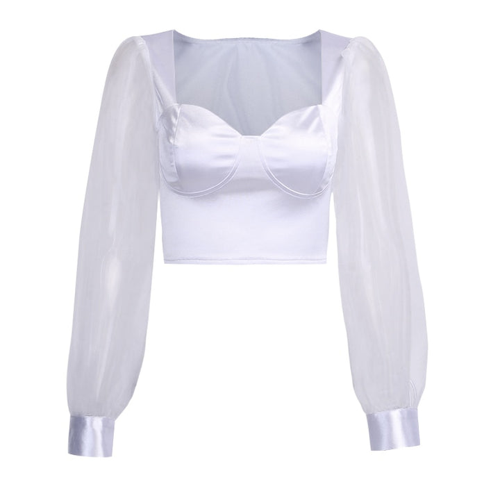 Women's Satin Mesh Long Sleeve Crop Top