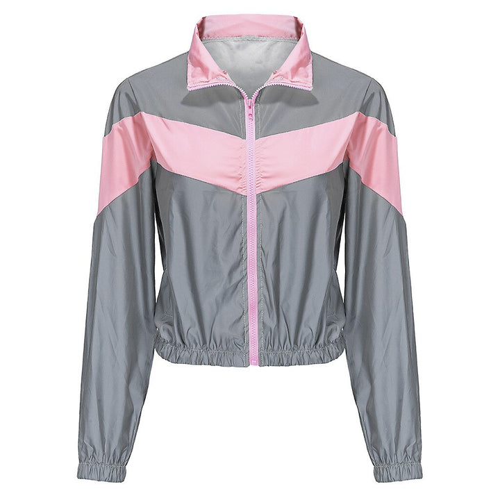 Women's Spandex Striped Reflective Windbreaker With Zippers