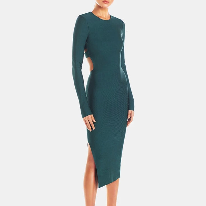 Women's Spring High-Waist O-Neck Sheath Dress