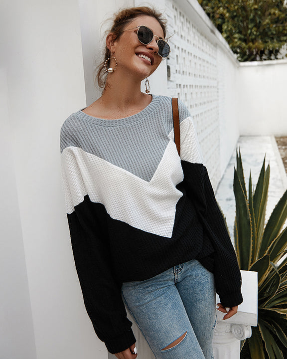Women's Loose Knitted Long Sleeve Sweater