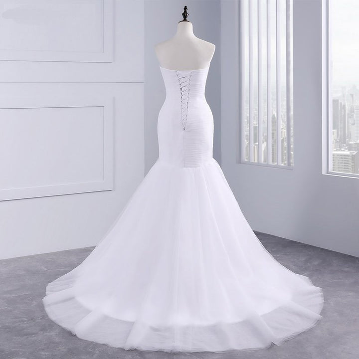 Women's Strapless Draped Wedding Dress With Court Train