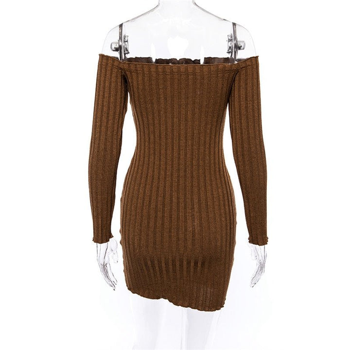 Women's Knitted Off Shoulder Bodycon Sweater Dress