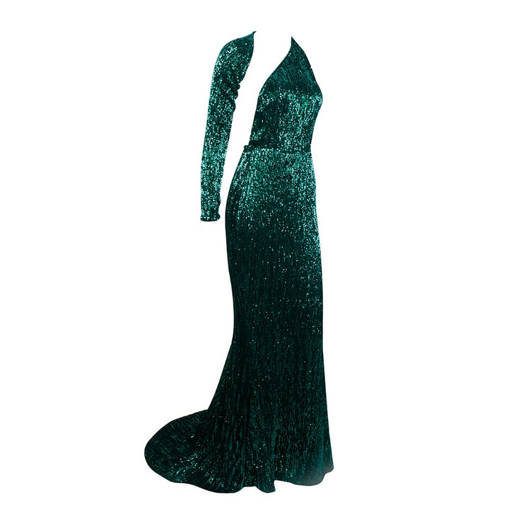 Women's Sequin Long Dress With Open Back