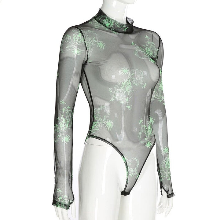 Women's Mesh High Neck Slim Bodysuit With Dragon Print