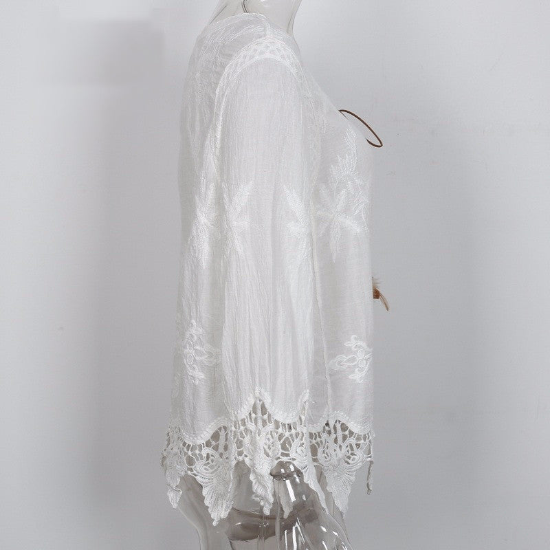 Blouse – Lace Up Fringe Blouse Of Cotton | Zorket