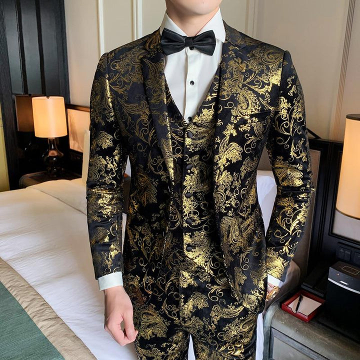 Men's Velvet Suit With Print