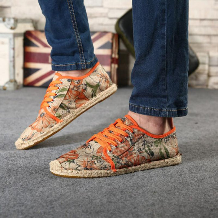 Men's Summer Canvas Breathable Shoes With Floral Print