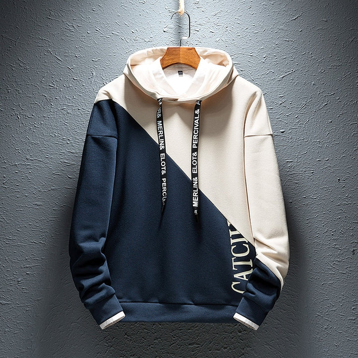 Men's Casual Patchwork Hooded Sweatshirt