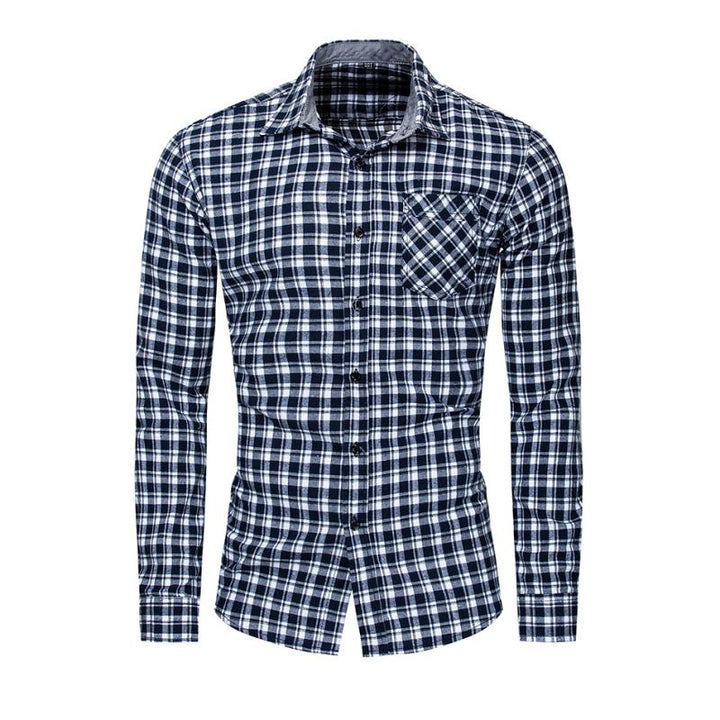 Men's Casual Plaid Long Sleeved Shirt