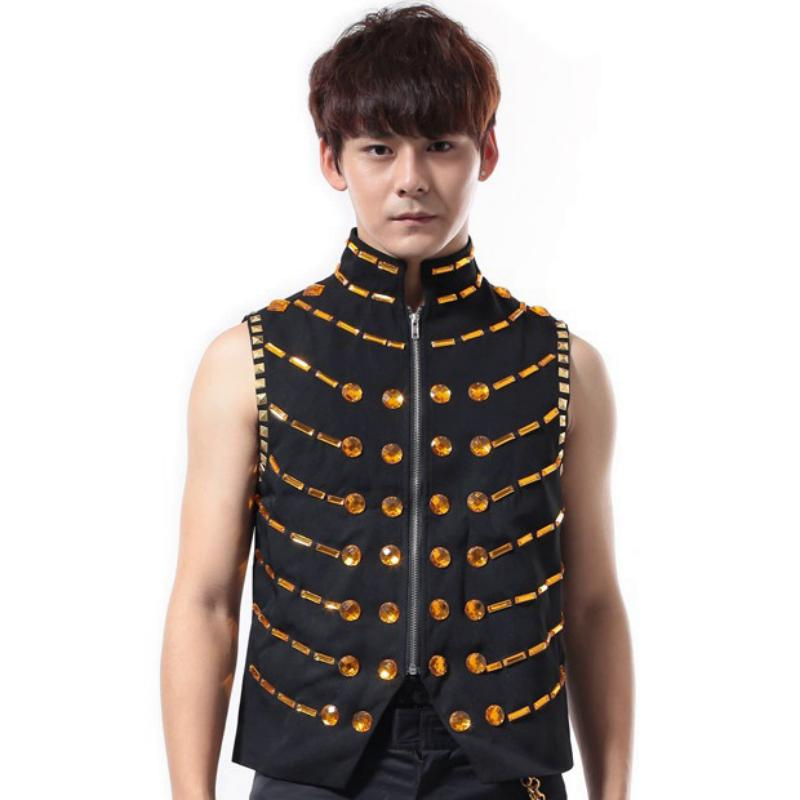 Men's Waistcoat With Zipper And Crystals