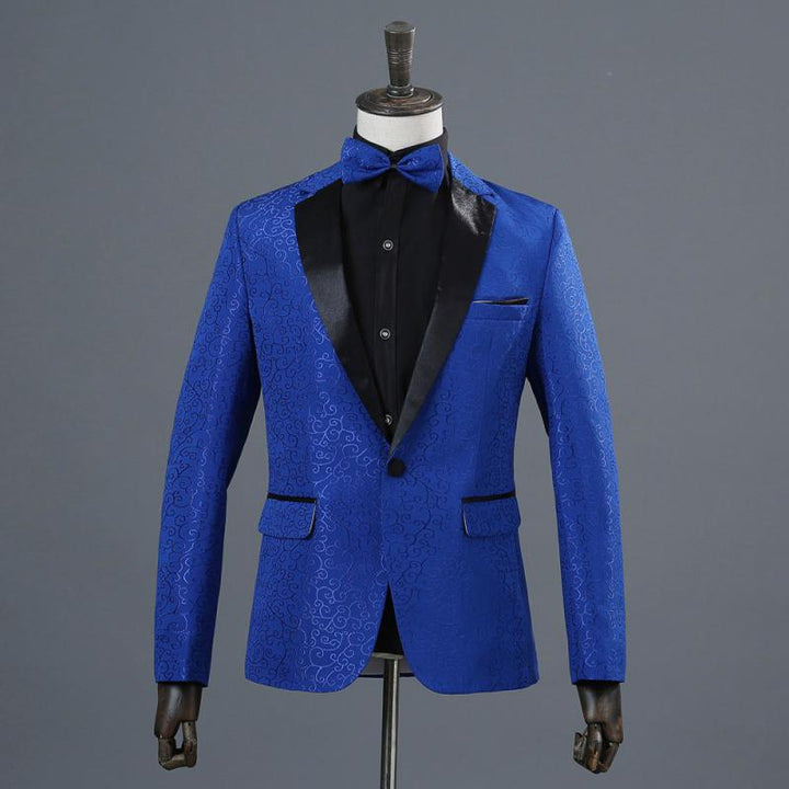 Men's Wedding Jacquard Blazer With Bow Tie